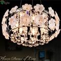 Modern Simple E14 LED Pendant Light Creative 3D White Ceramic Glass Flower Pendant Lamp LustreK9 Crystal&Stainless Hanging Light