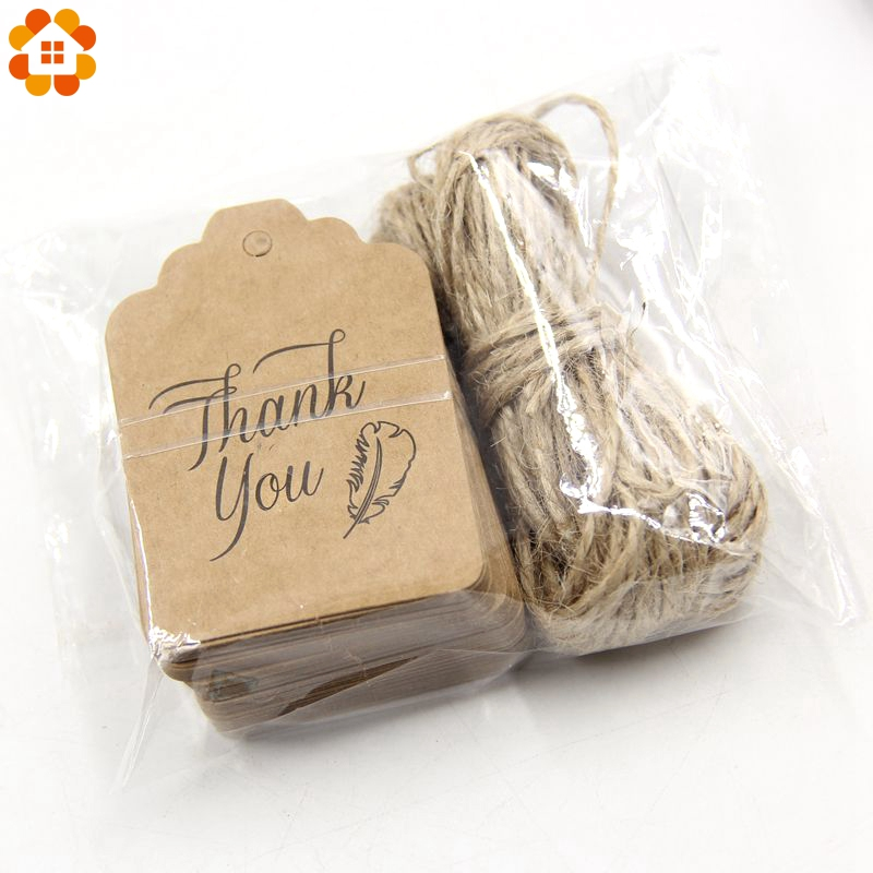 50PCS Paper Tags With 10Meters Rope DIY Craft Label Luggage Party Favor Wedding Party Note Hang Tag Gift Wrapping Supplies