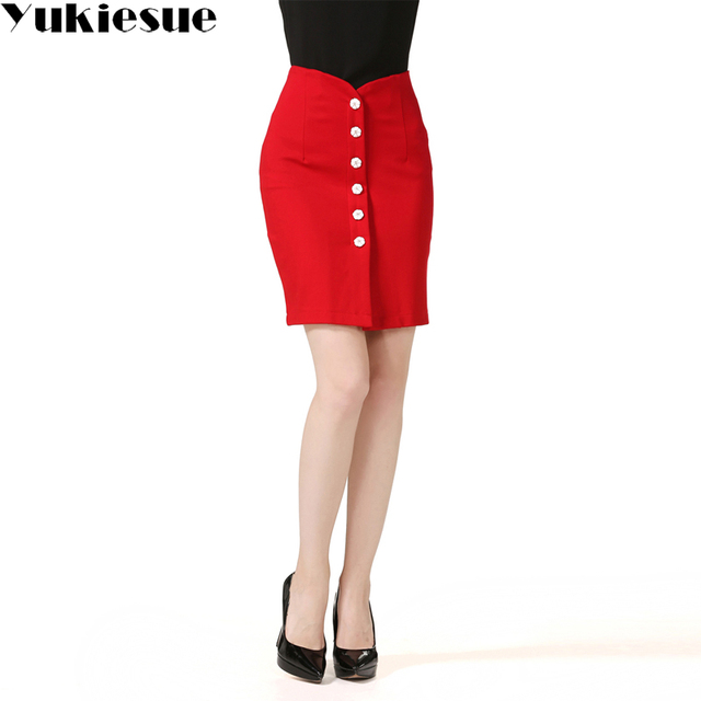 811de32e06 Womens Elegant Vintage Patchwork Buttons High Waisted OL office Work Business  Casual Party Bodycon Pencil Skirt female