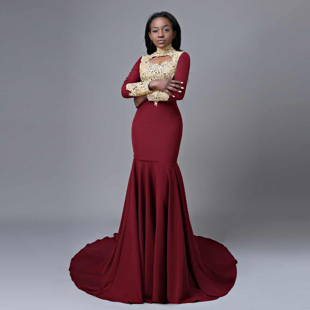 aac1212a411c ... Long Prom Dresses 2019 New Arrival Sexy High Neck Long Sleeve Gold Lace  African Mermaid Burgundy ...
