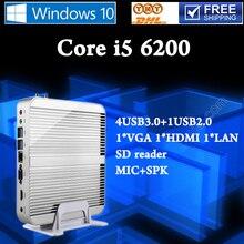 Мини-ПК Core i5 6200U Gigabit Lan Wifi HDMI и VGA HTPC Barebone Ordinateur Без Ventilateur Безвентиляторный Настольный Компьютер 4 * USB 3.0