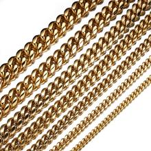 Granny Chic 6/8/10/12/14/16/18mm Stainless Steel Miami Curb Cuban Chain Necklaces Dragon Lock Clasp Mens Link jewelry Gift