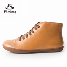 Women winter Boots Genuine sheepskin leather casual ankle Comfortable quality soft handmade flat Shoes yellow black red 2019 men winter boots 100% genuine cow leather brogue shoes casual ankle shoes comfortable quality soft handmade flat shoes black red