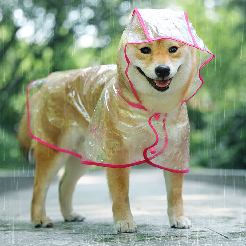 @HE Pet Rain Coat Outdoor Transparent Hooded Cloak Raincoat Waterproof Puppy Dog Jacket Fashion Dog Clothing