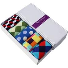 Матч-Бесплатная Доставка хлопок бренд мужской носки, красочные платья носки (5 пар/лот) не подарок коробка(China (Mainland))