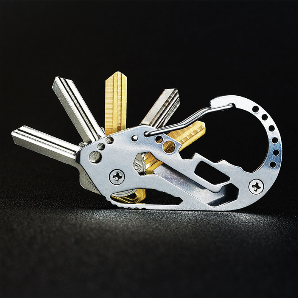 Carbine clip Outdoor Multifunction EDC tool stainless steel Key Holder Organizer Clip Folder Keyring Keychain Survival travel to in Outdoor Tools from Sports Entertainment