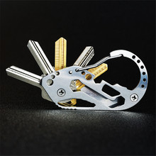 Carbine clip Outdoor Multifunction EDC tool stainless steel Key Holder Organizer Clip Folder Keyring Keychain Survival travel to useful aluminum casual alloy etc organizer home 6 key accessories keys folder holder outdoor key keychain clip
