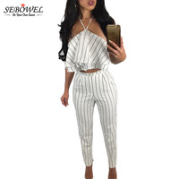 2017 New Style Summer Women Pant Suits 2 Piece Style Hollow Out Split White Striped Ruffle