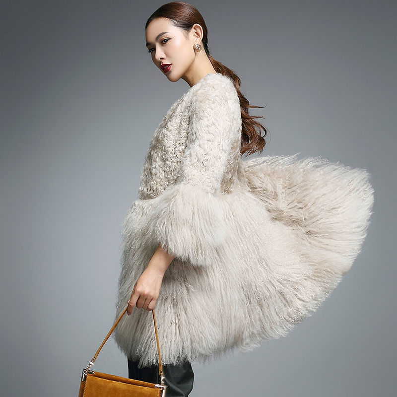 Real Fur Coat For Women Natural Lamb Fur With Mongolia Sheep Fur Coats Rf0093B(China)