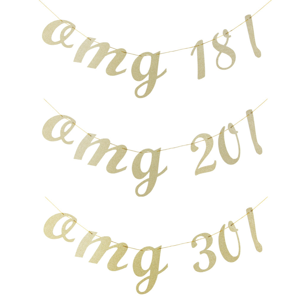 Custom DIY(1-100 yr old) 1 piece Gold Glitter Birthday Party Banner Garland Photo Prop Signs Anniversary Party Supplies