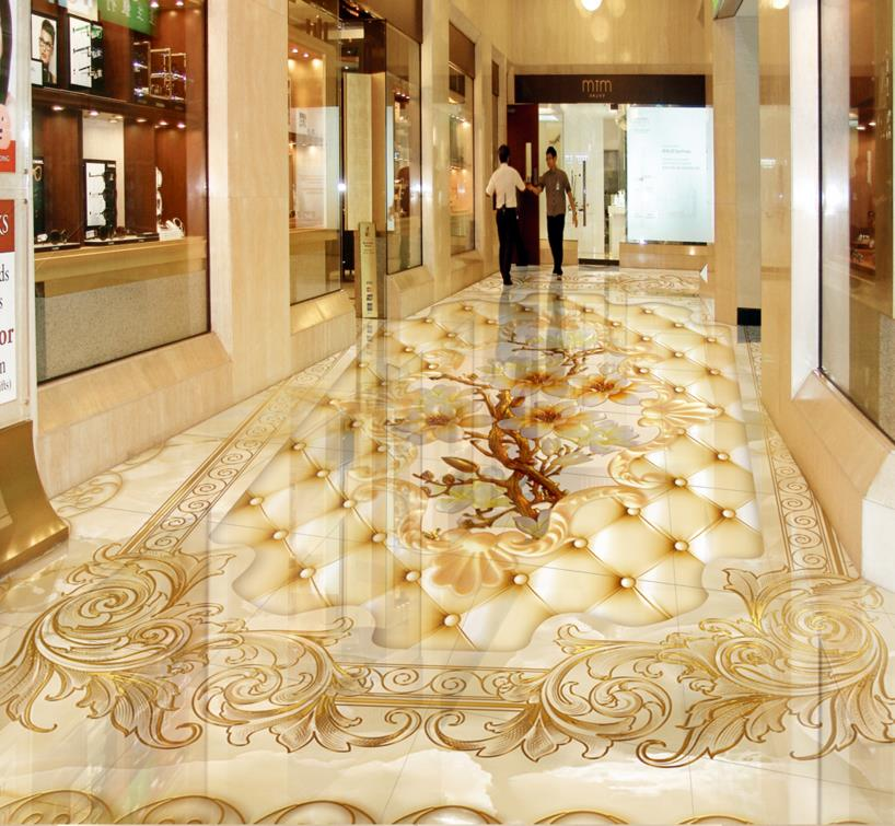 Custom 3d flooring wallpaper 3D Marble mosaic roses floor murals waterproof self-adhesive 3D PVC photo wallpaper floors free shipping straw weave rattan floor 3d flooring custom living room self adhesive home decoration photo wallpaper mural