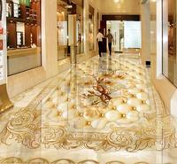 Custom 3d Flooring Wallpaper 3D Marble Mosaic Roses Floor Murals Waterproof Self Adhesive 3D PVC Photo