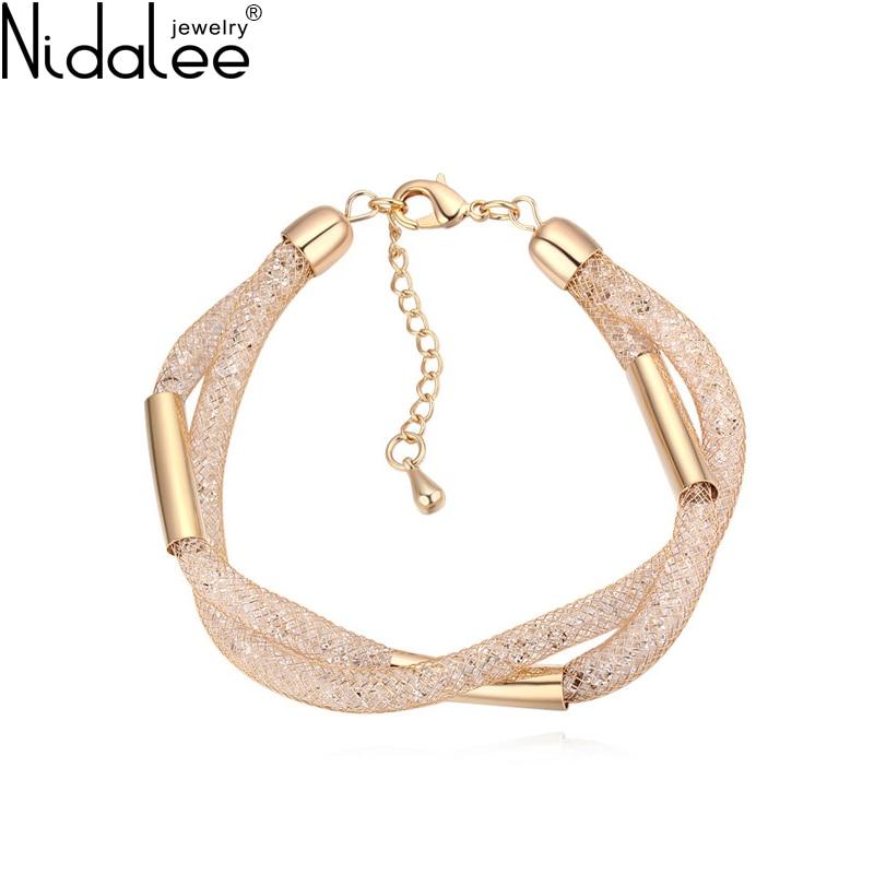 Nidalee Brand 2017 New Streets Design Magic Mesh Bag Bracelets For Women Crystal From Swarovski Luxury Bangles Weddings Jewelry