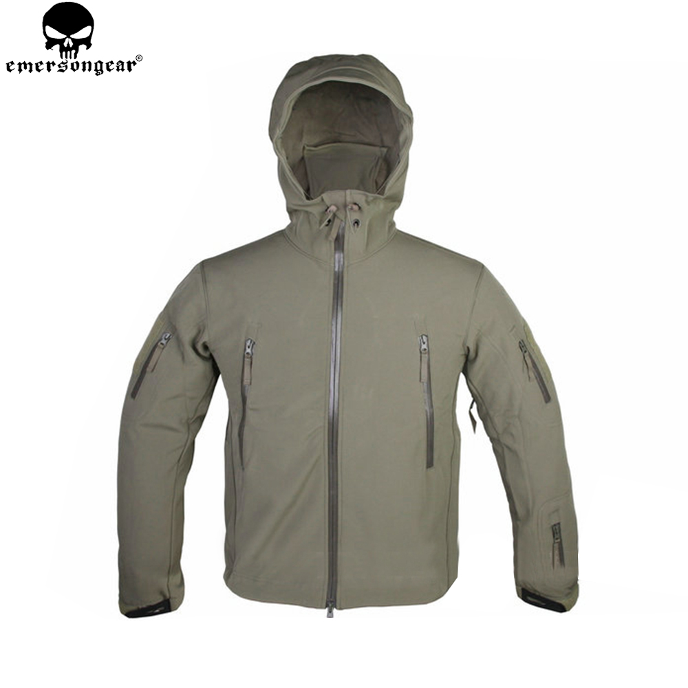 цена на EMERSONGEAR Soft Shell Jackets Outdoor Waterproof Sports Camouflage Hunting Camping Hiking Trekking Jacket Tactical Coat EM6792