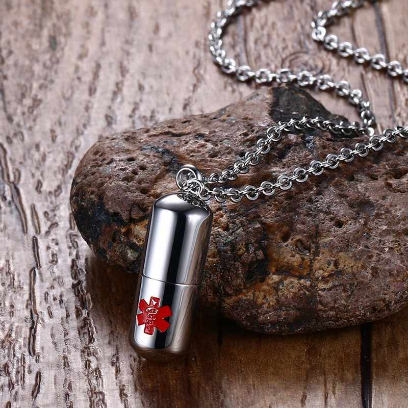 Stainless Steel Pills Capsule Cremation Ash Urns Necklaces with Medical Alert Sign Secret Compartment Box