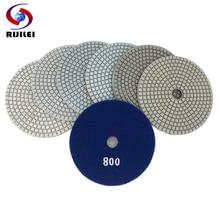RIJILEI 7PCS/Set 5inch White Diamond Polishing Pad 125mm Wet polishing pads for Stone concrete floor tool HC15