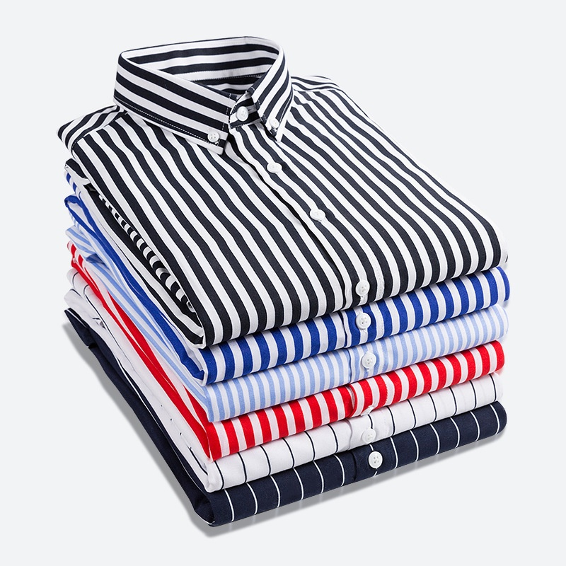 Zogaa 2019 Spring Striped Men Shirt Business Casual Cotton Long Sleeved Shirt Classic Camisa Masculina Size XS XXL Hot Sale in Casual Shirts from Men 39 s Clothing