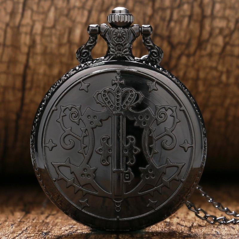 2016 New Hot Animation Kuroshitsuji Black Butler Sebastian Theme Quartz Pendant Pocket Watch With Necklace Chain Gift To Boys