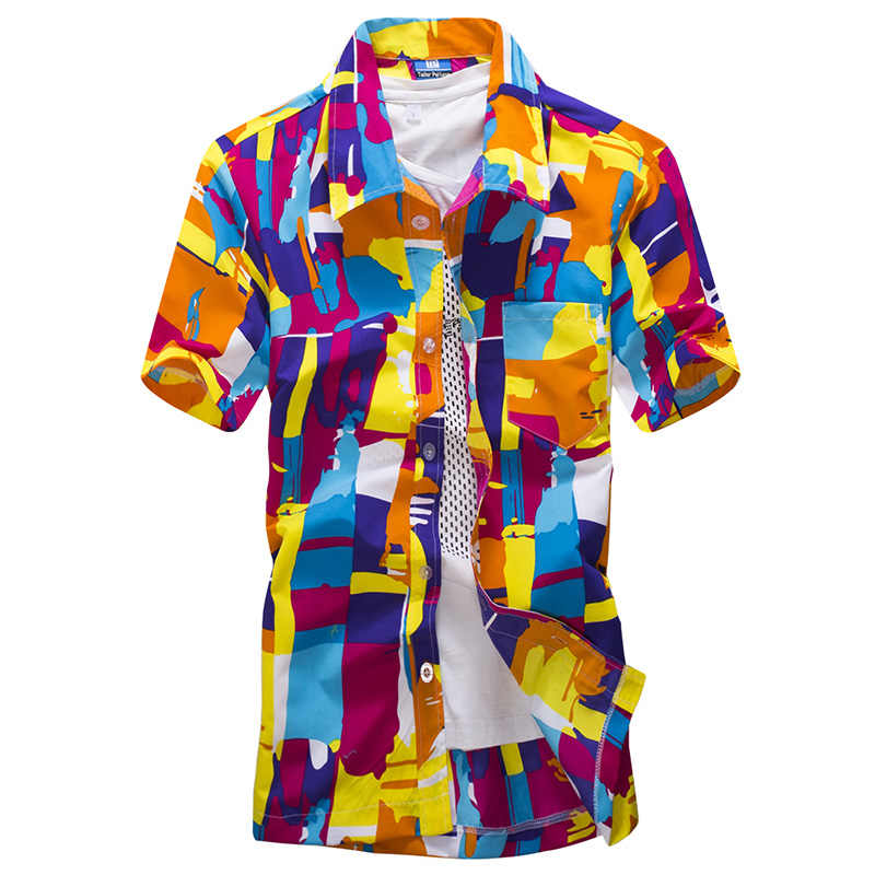 男性のビーチハワイシャツ熱帯夏半袖シャツココナッツの木の花プリント休日サーフィンシャツプラスサイズ 5XL