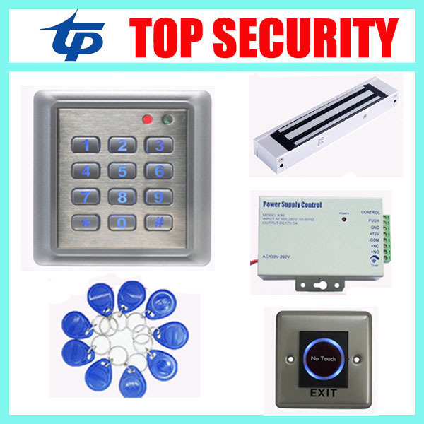 Standalone card and pin access control system access controller +power supply+magnetic lock+infrared exit button+10pcs RFID key access control systems proximity card waterproof standalone access control power supply magnetic lock exit button 10pcs rfid key