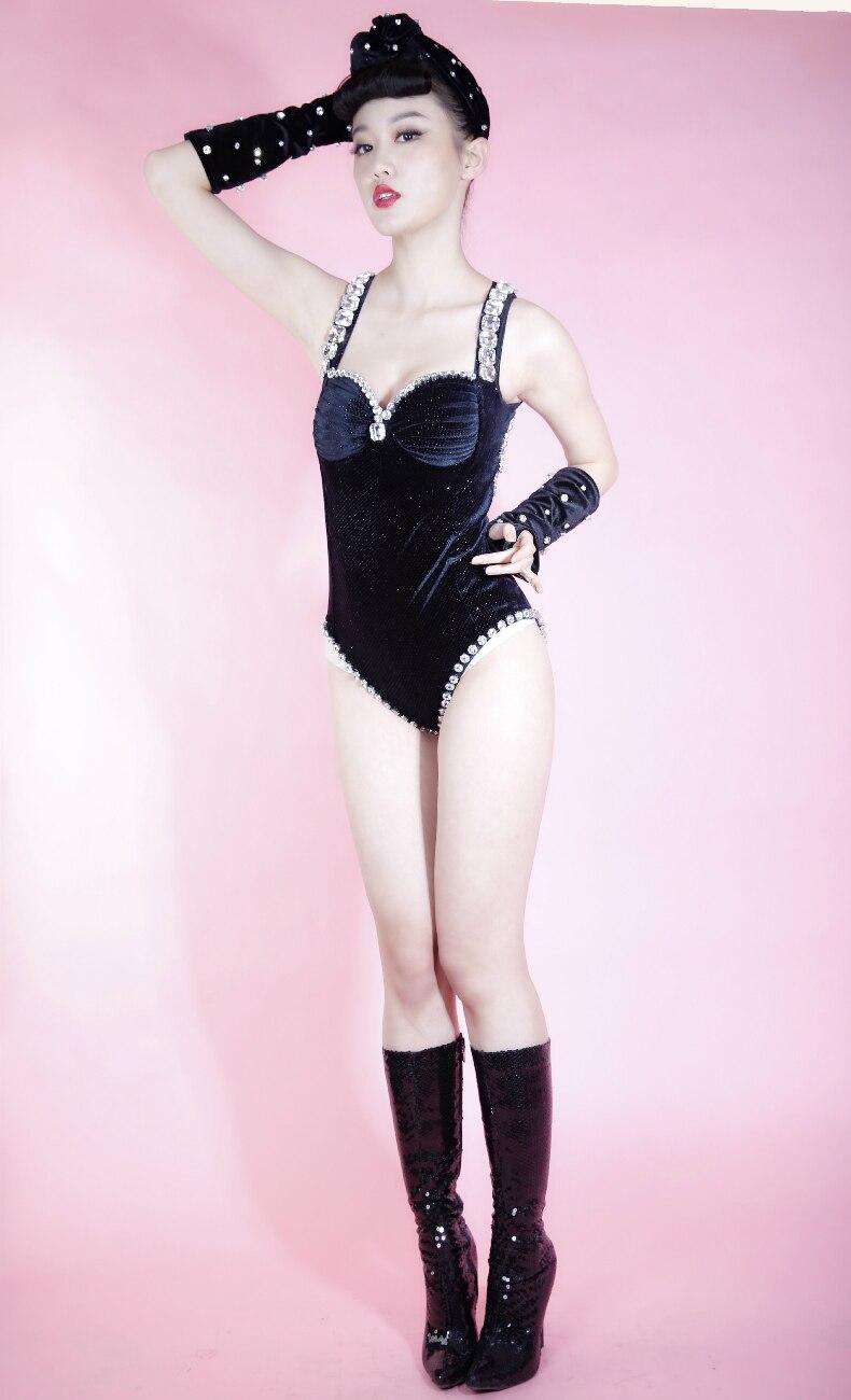 Sexy Danse Discothèque Strass Scintillant Velours Équipe Body Chanteuse Tenue De Or Fête D'anniversaire Costume Noir Dj Femmes PU0qwnX0
