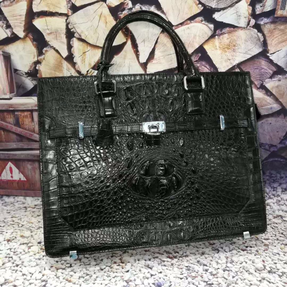 Luxury 100% Genuine Real Crocodile Leather Head Skin Men Business Bag Young Men Laptop Bag Briefcase With Front Locker And Key