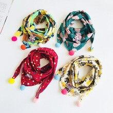 Детские шарфы-нагрудники осень-зима хлопок Треугольники шарф для девочек, для мальчиков с рисунками из мультфильмов милые шарфы с круглым воротником и шейный платок