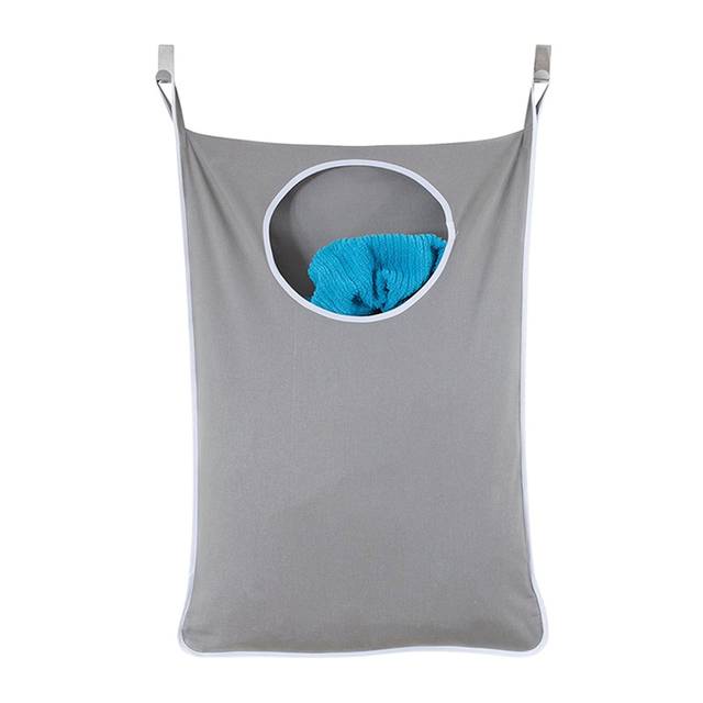 Household Door Hanging Laundry Hamper Extra Large Wall Mounted Organizer Bag With Stainless Steel And Suction Cup Hook