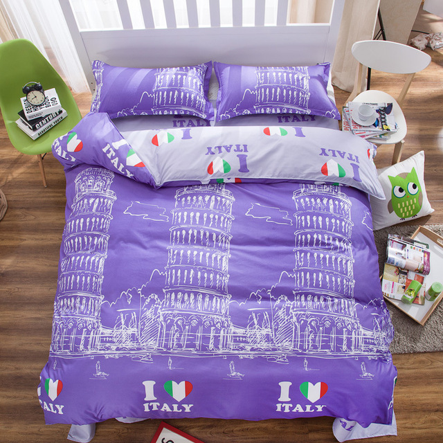 Famous Italy Building Printed Bedding Duvet Cover Set Queen Size 1