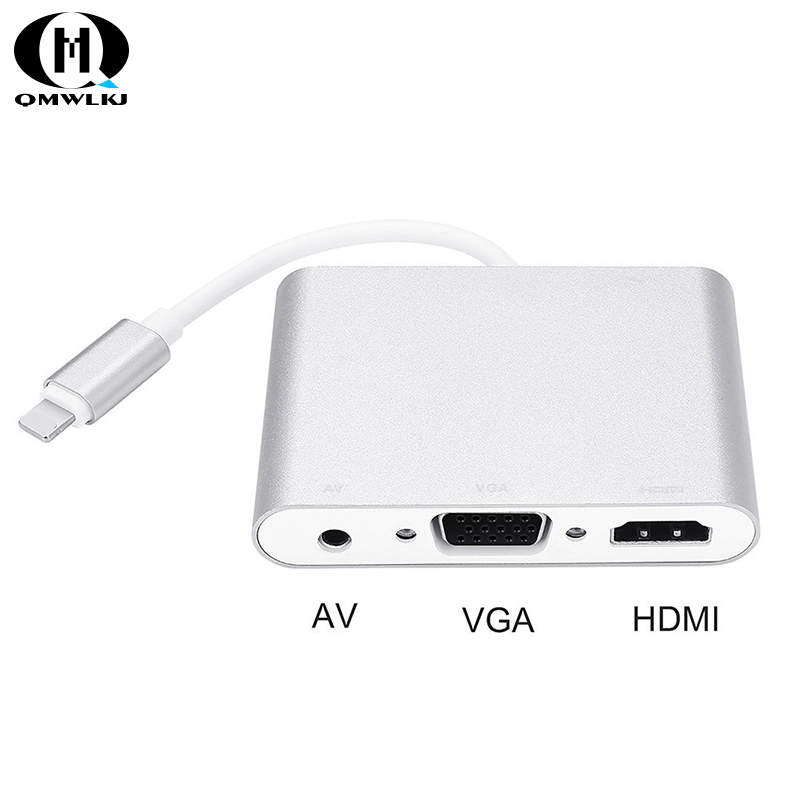 For apple 3in1 8 Pin Audio Adapter USB to HDMI VGA+Video Converter Digital AV Adapter For iPhone 8 7 plus 6S iPad Support iOS 10