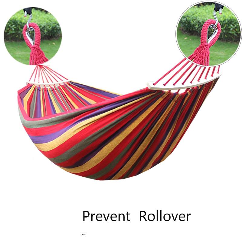 купить Travel Canvas Hammocks 260*150cm Portable Outdoor Hammock Camping Garden Beach Hanging Swing Bed Rainbow Color + Wooden Stick недорого