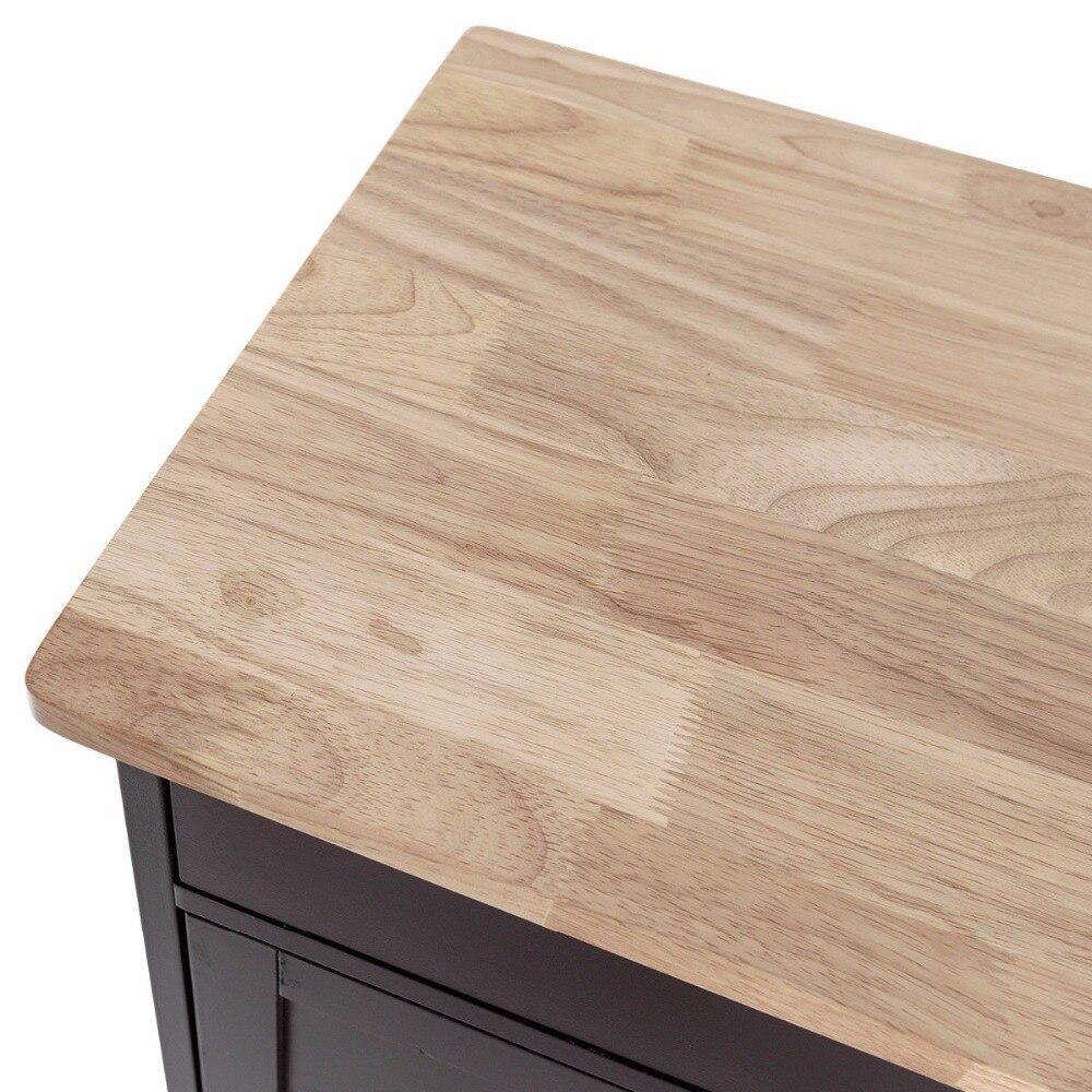 Giantex Modern Rolling Kitchen Cart Trolley Island Storage Cabinet w/Drawer&Wine Rack Dining Room Furniture HW56608BN 10