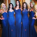 Honey Qiao Bridesmaid Dresses Sexy Sleeveless Mermaid Navy Blue Sweetheart Tulle Off The Shoulder Pleat Long Party Dress