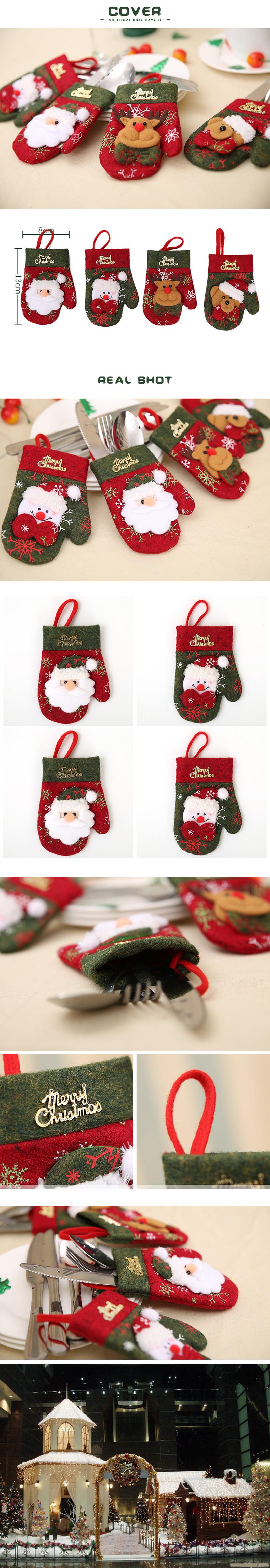 1 X santa claus christmas gloves silverwaser holder christmas dinner