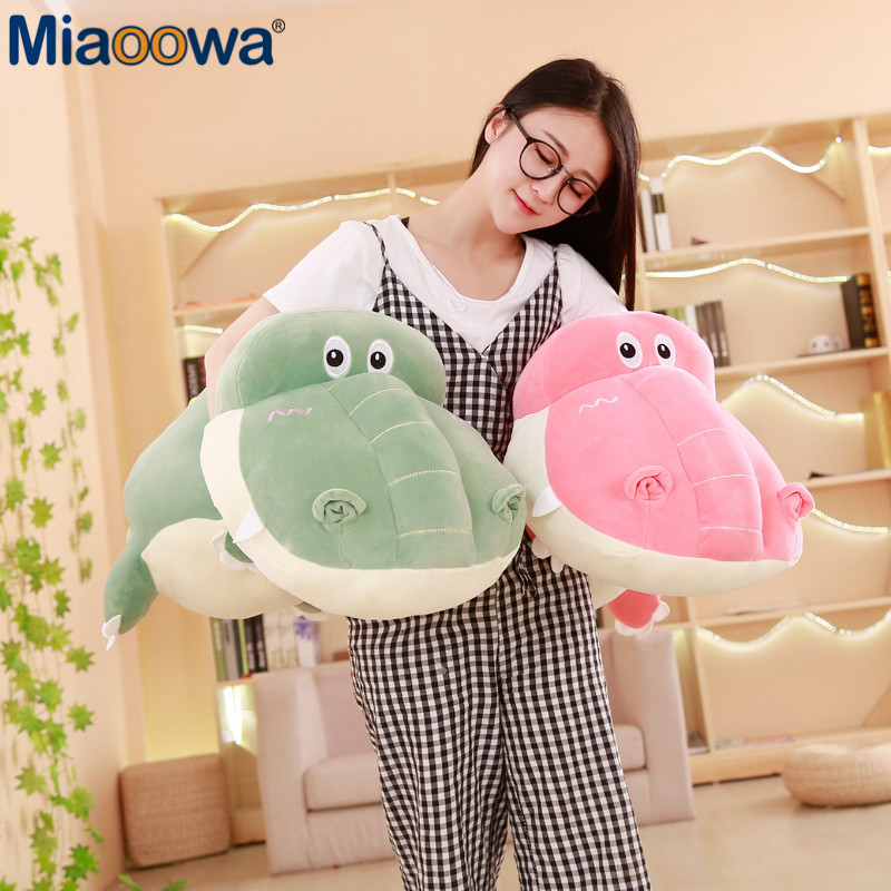 1pc 80/100cm Big Crocodile Plush Pillow Stuffed Animal Plush Toy Super Soft Crocodile Cushion for Girls Children Christmas Gift 35cm kawaii soft plush smiley face bow cloud pillow 100% cotton stuffed back cushion seat cushion christmas gifts plush toy