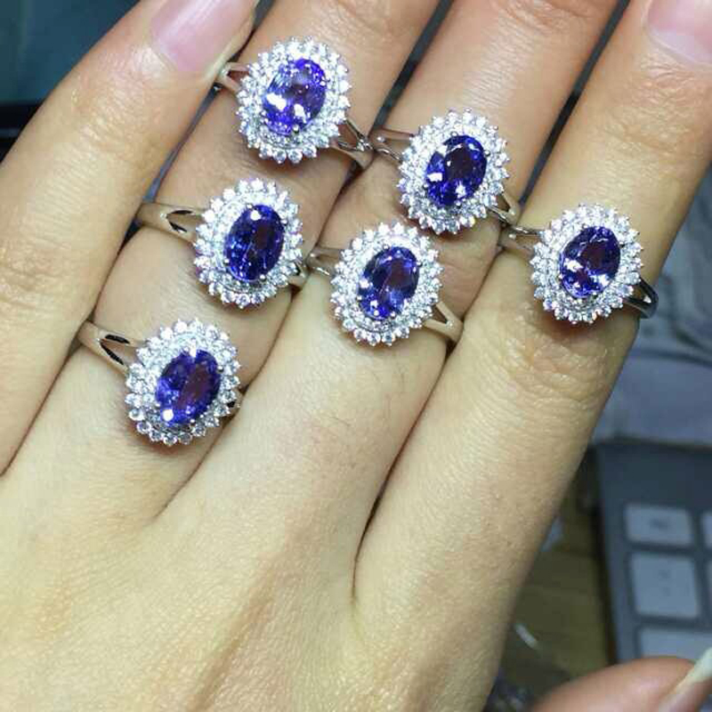 2017 Qi Xuan_Fashion Jewelry_Natural Blue Stone Sapphires Luxury Rings_S925 Solid Silver Sterling Ring_factory Directly Sales