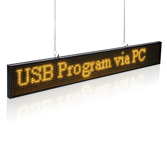 34 CM SMD P5mm Led display module amarelo azul verde branco Mensagem de Rolagem Programável LEVOU Exibição Placa do Sinal (Amarelo)