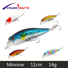 CRANK BAITS Minnow Fishing Lure Professional Laser Hard Pesca 11cm 14g Wobbler Swim sinking bait Floating Isca Artificial YB502