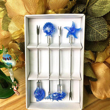 marine style lovely stainless steel fruit fork set handmade murano glass Shell/conch/starfish Figurines Bar restaurant tableware
