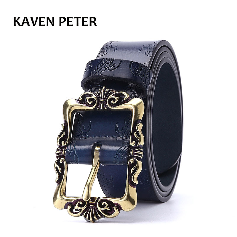 Vintage Floral Real Leather Lady Belts Genuine Leather Belt For Woman Top Quality Strap Female For Jeans 35MM Black Brown Color