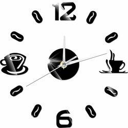 DIY z cyframi analogowymi filiżanka kawy zegar akrylowy samoprzylepne lustro naklejki zegar ścienny kwarcowy nie-tykająca dekoracja kuchenna