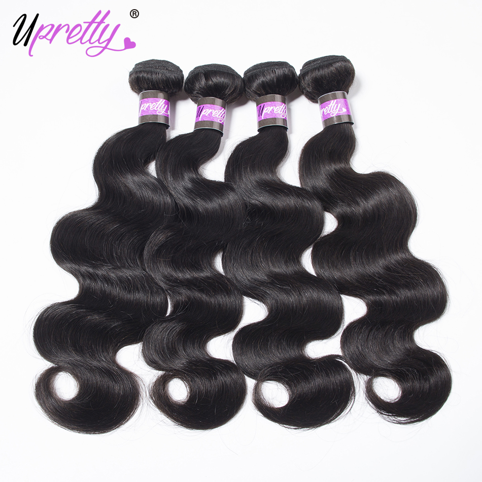 Upretty Hair Peruvian Hair 4 Bundles 100% Unprocessed Remy Human Hair Body Weave Extensions Peruvian Body Wave Hair Bundles
