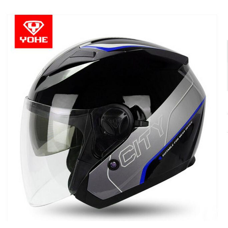 цена на 2017 summer New Knight protection YOHE Half face motorcycle helmets ABS open face Motorbike helmets 10 colors size M L XL XXL