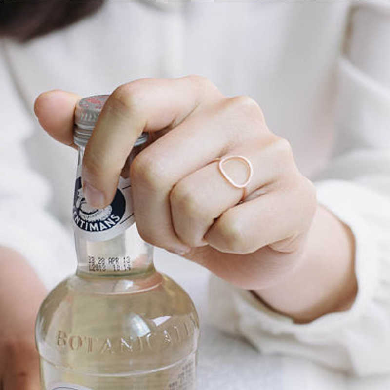 SMJEL Sliver Simple Brushed วงกลมแหวนอินเทรนด์รอบแหวน Anel งานแต่งงานเครื่องประดับ Bijoux R027