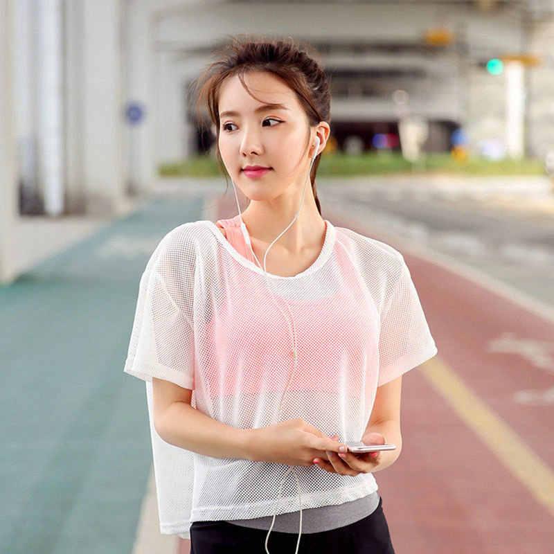 2017 сексуальные Мягкие сетчатые топы для йоги, спортивная майка, футболки для фитнеса, Спортивная футболка для бега, Спортивная футболка для женщин, одежда для спортзала