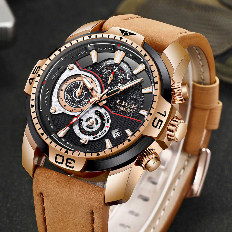 Relojes LIGE para hombre marca superior reloj de cuarzo de cuero Casual de lujo para hombre, reloj deportivo impermeable, regalo, reloj dorado para hombre, reloj Masculino