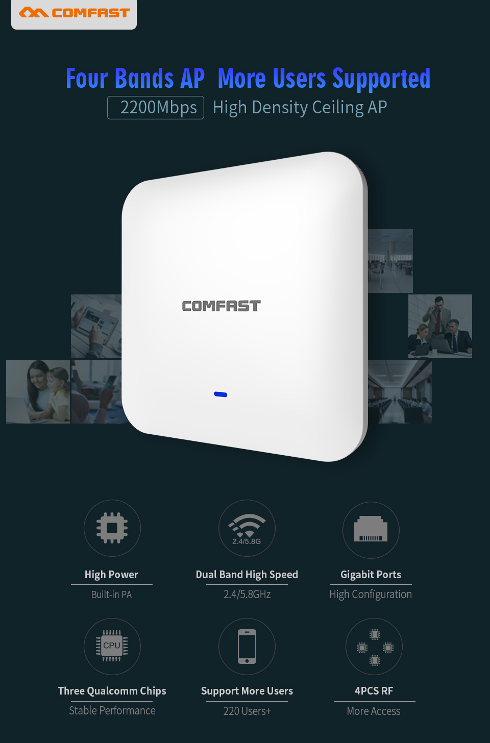 COMFAST CF-E385AC Indoor Wireless Router 2200Mbps Ceiling AP Dual Band WiFi Access Point Antenna 48vpoe Wi fi Signal Amplifier ...
