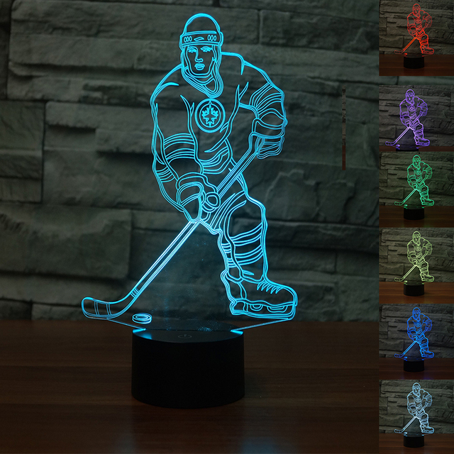 Ice Hockey Athlete 3D Nightlight Colorful Light Touch Sensor Bedside Lamp Home Decor Table Winnipeg Jets Kids New Year Gift