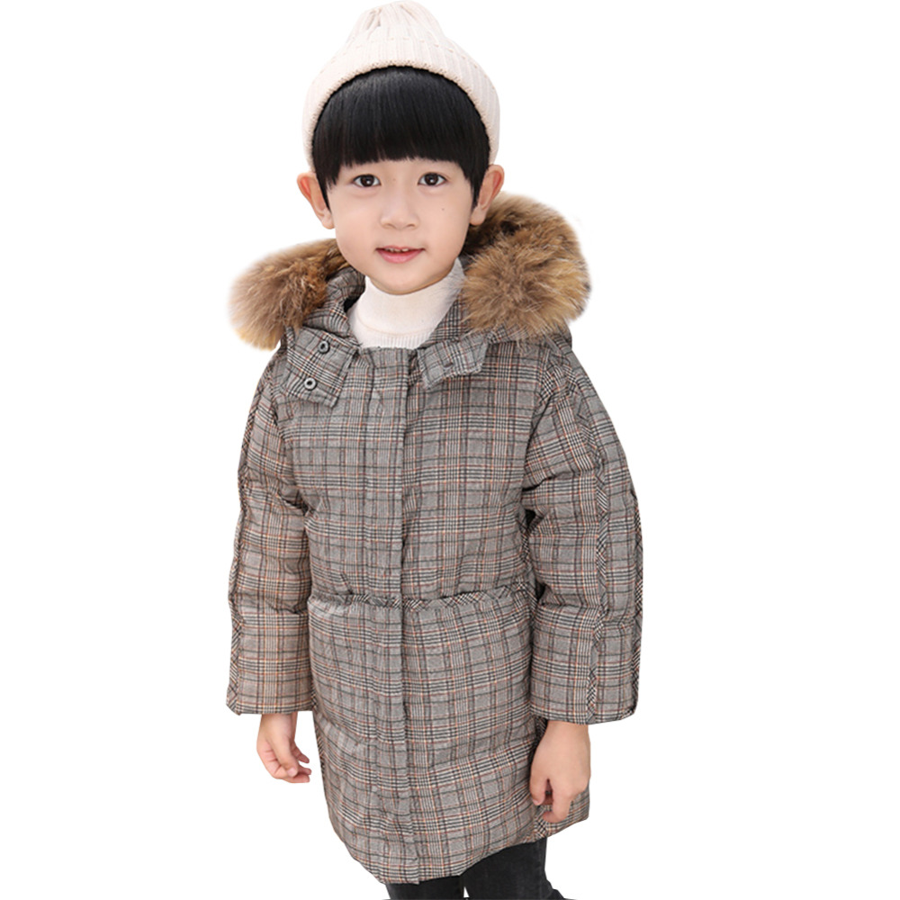 Boys Down Coat Hooded Long Zipper Fur Collar Thickened Outerwear Childrens Down JacketBoys Down Coat Hooded Long Zipper Fur Collar Thickened Outerwear Childrens Down Jacket