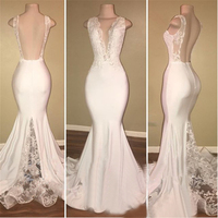 Elegant White Backless Mermaid Long Evening Dress 2018 Vestido De Festa Lace Appliques Elastic Satin Custom Made Prom Gown Cheap